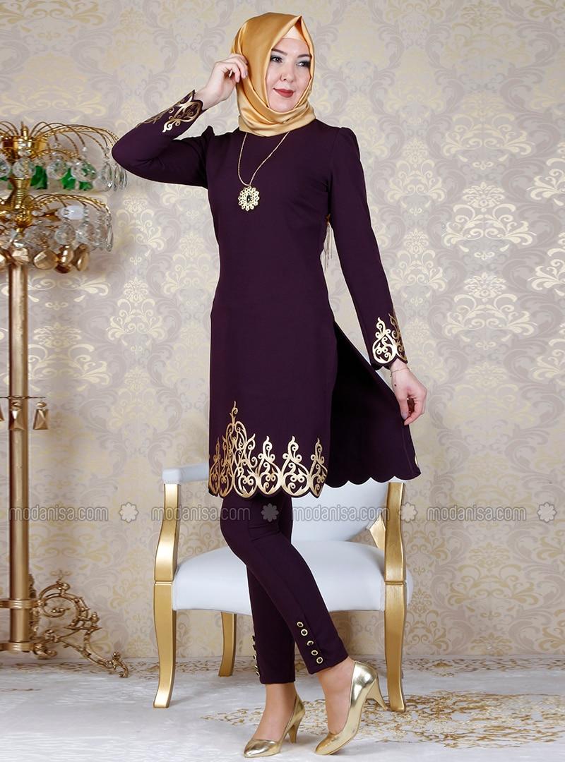 Plum - Unlined - Crew neck - Muslim Evening Dress