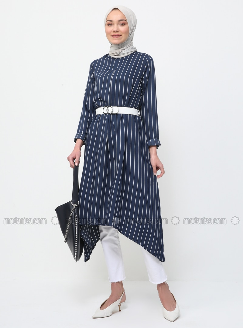 Navy Blue - Stripe - Crew neck - Tunic