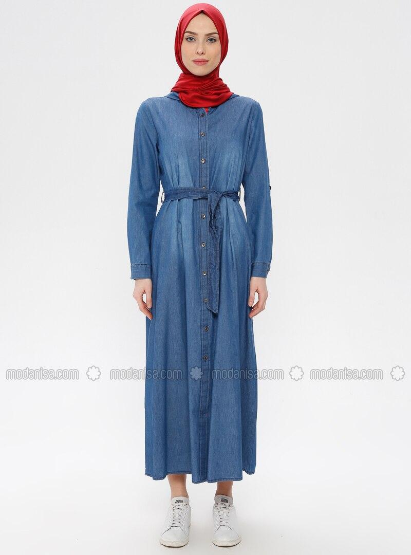 3796b62b71247 Boydan Düğmeli Kot Elbise - Açık Mavi