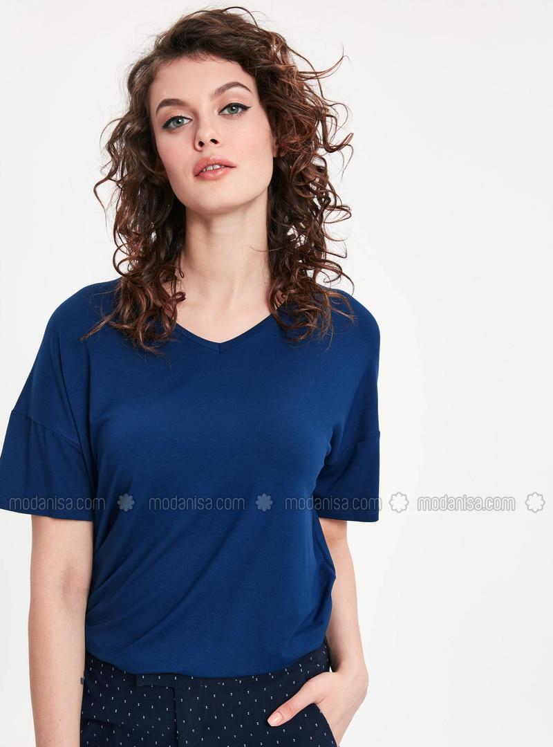 Navy Blue - V neck Collar - T-Shirt