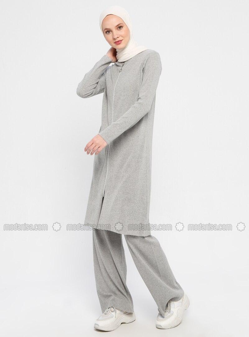 Gray - Unlined - Cotton - Suit