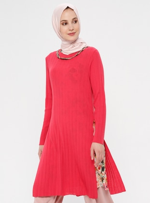 Coral - Multi - Crew neck - Tunic