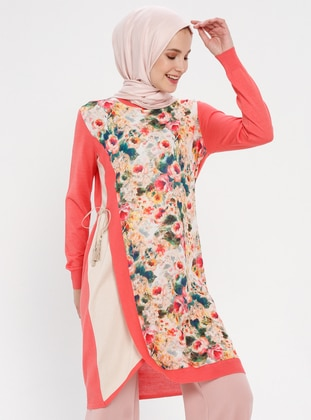 Coral - Floral - Crew neck - Tunic