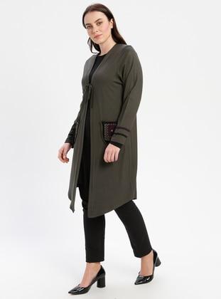 Khaki - Plus Size Cardigan - PINK APPLE