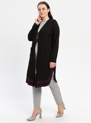 Black - Plus Size Cardigan - PINK APPLE