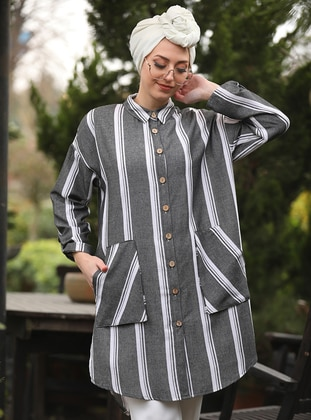 Smoke - Stripe - Point Collar - Tunic