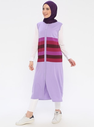 Purple - Stripe - Unlined - Crew neck - Vest