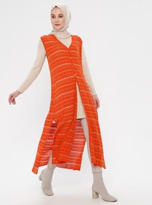 Orange - Stripe - Unlined - V neck Collar - Vest