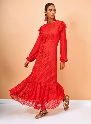 Red - Crew neck - Fully Lined - Cotton - Dress