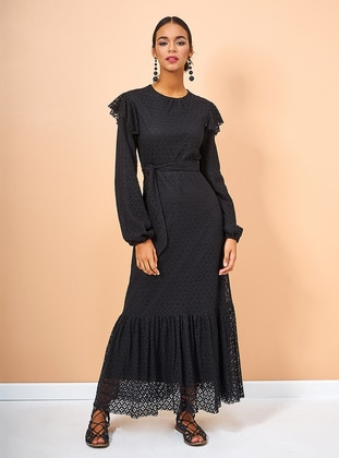 Black - Crew neck - Fully Lined - Cotton - Dress