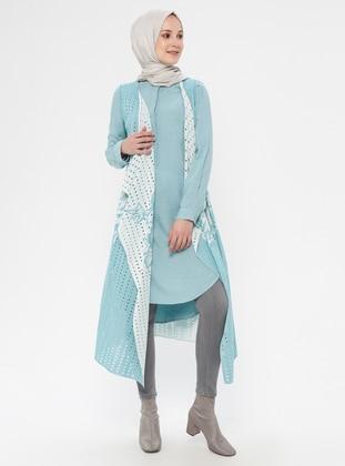 Turquoise - Multi - Unlined - Shawl Collar - Vest