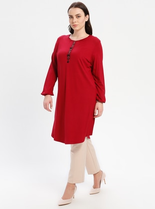 Maroon - Crew neck - Plus Size Tunic