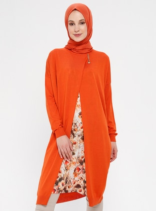 Orange - Floral - Crew neck - Tunic