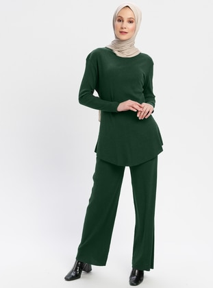 Green - Emerald - Unlined - Cotton - Suit