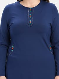 Navy Blue - Indigo - Crew neck - Plus Size Tunic