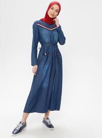 Blue - Crew neck - Unlined - Denim - Dress