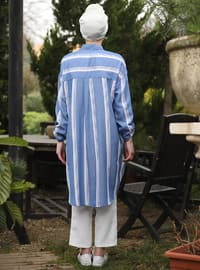 Indigo - Stripe - Point Collar - Tunic