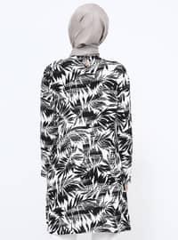 Black - White - Floral - Crew neck - Viscose - Tunic