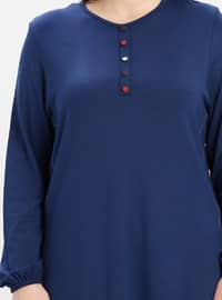 Navy Blue - Indigo - Crew neck - Cotton - Plus Size Tunic