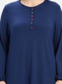 Blue - Navy Blue - Indigo - Crew neck - Cotton - Plus Size Tunic