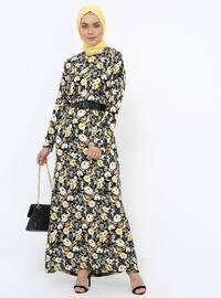 Yellow - Stripe - Crew neck - Unlined - Viscose - Dress