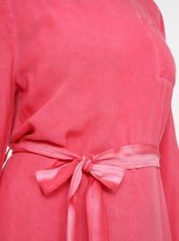 Fuchsia - Crew neck - Unlined - Viscose - Dress