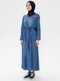 Blue - Crew neck - Unlined - Denim - Dress