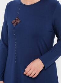 Indigo - Crew neck - Cotton - Plus Size Tunic