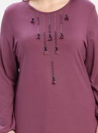 Dusty Rose - Crew neck - Cotton - Plus Size Tunic