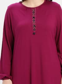 Pink - Fuchsia - Crew neck - Plus Size Tunic