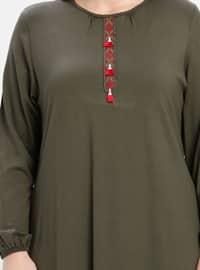 Khaki - Crew neck - Plus Size Tunic