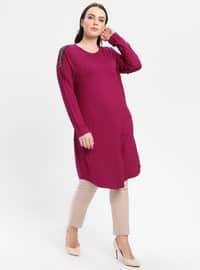 Fuchsia - Crew neck - Cotton - Plus Size Tunic