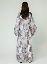 White - Floral - Unlined - Abaya