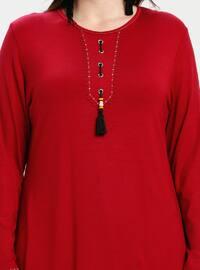 Maroon - Crew neck - Plus Size Tunic