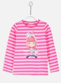 Pink - Stripe - Crew neck - T-Shirt