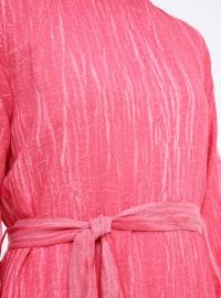 Fuchsia - Crew neck - Unlined - Cotton - Dress