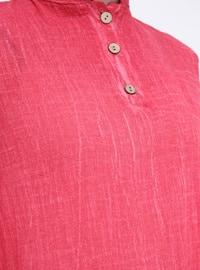 Fuchsia - Crew neck - Cotton - Tunic