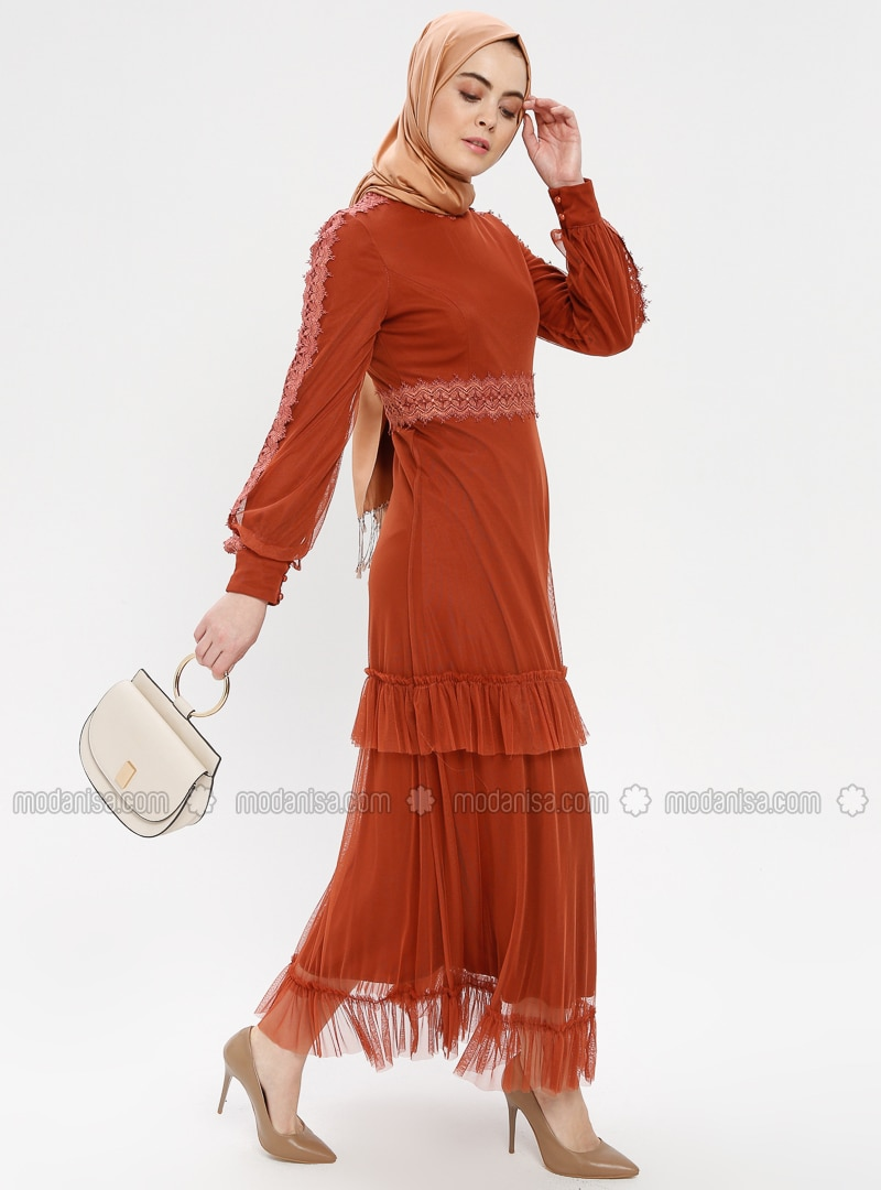 Terra Cotta - Polo neck - Fully Lined - Dress