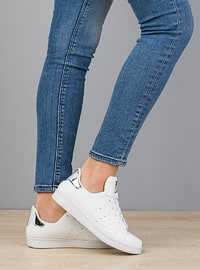 White - Silver tone - Casual - Flat Shoes