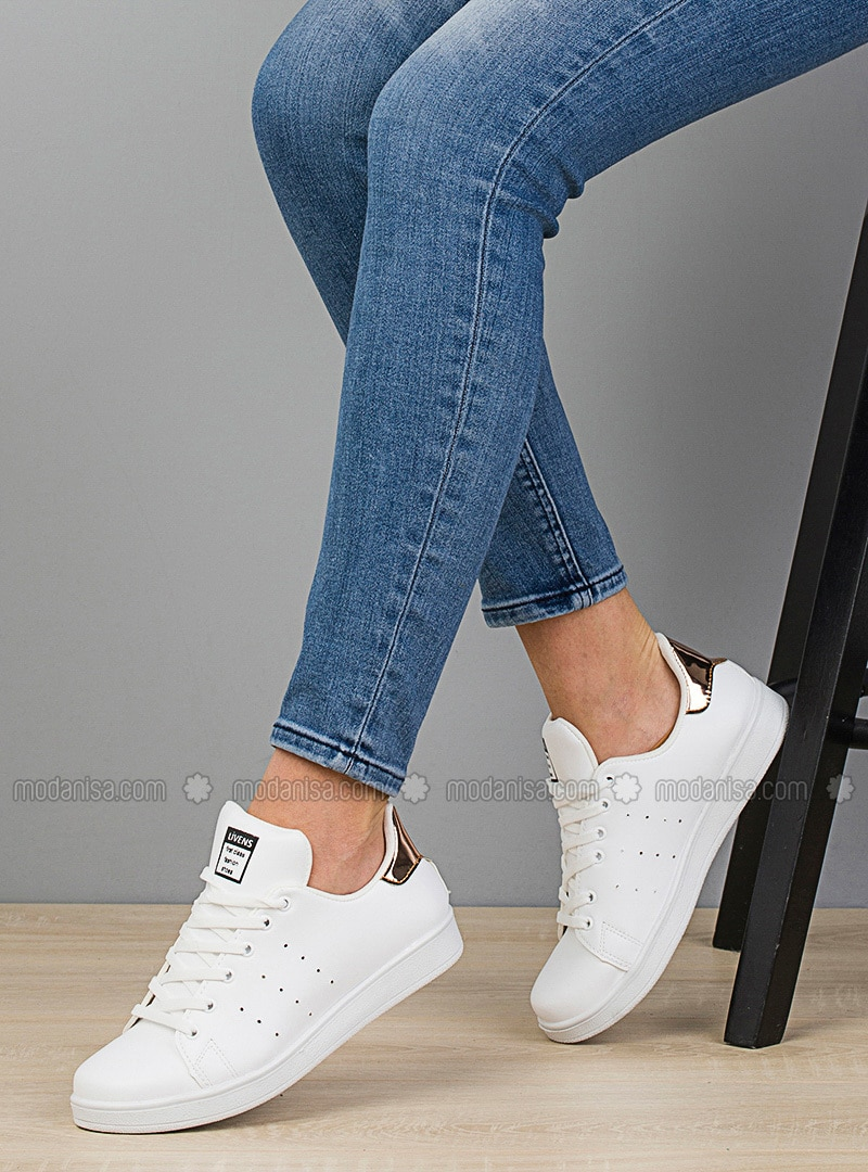 White - Gold - Casual - Flat Shoes