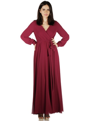 Maroon - Fully Lined - Muslim Evening Dress