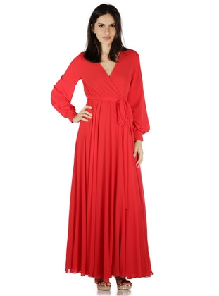 Red - Fully Lined - Muslim Evening Dress