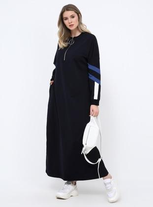 Navy Blue - Unlined - Crew neck - Cotton - Plus Size Dress - Alia