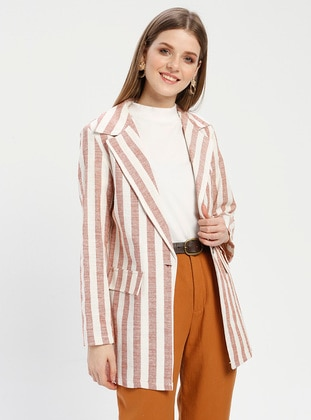 Tan - Camel - Terra Cotta - Stripe - Unlined - Shawl Collar - Cotton - Jacket