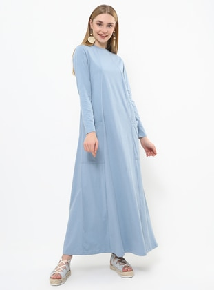 Blue - Indigo - Crew neck - Unlined - Cotton - Dress