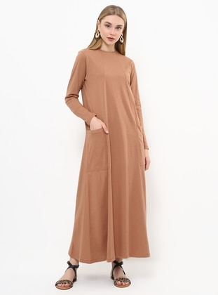 Tan -  - Crew neck - Unlined - Cotton - Dress