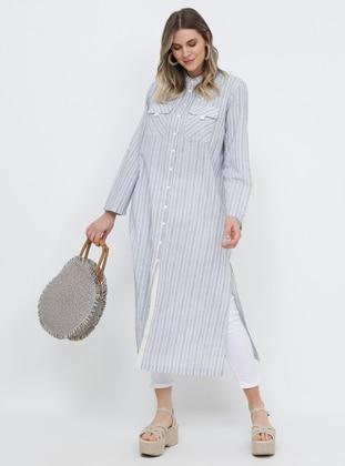Blue - Stripe - Button Collar - Cotton - Plus Size Tunic - Alia