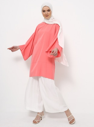 Coral - Crew neck - Cotton - Tunic
