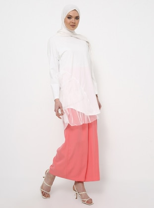 Ecru - Crew neck - Cotton - Tunic