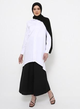 White - Button Collar - Cotton - Tunic
